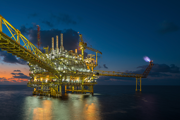 Offshore Drilling at Night